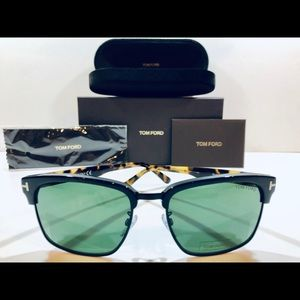 Tom Ford Men's Sunglasses Matte Black w/ Havana 57